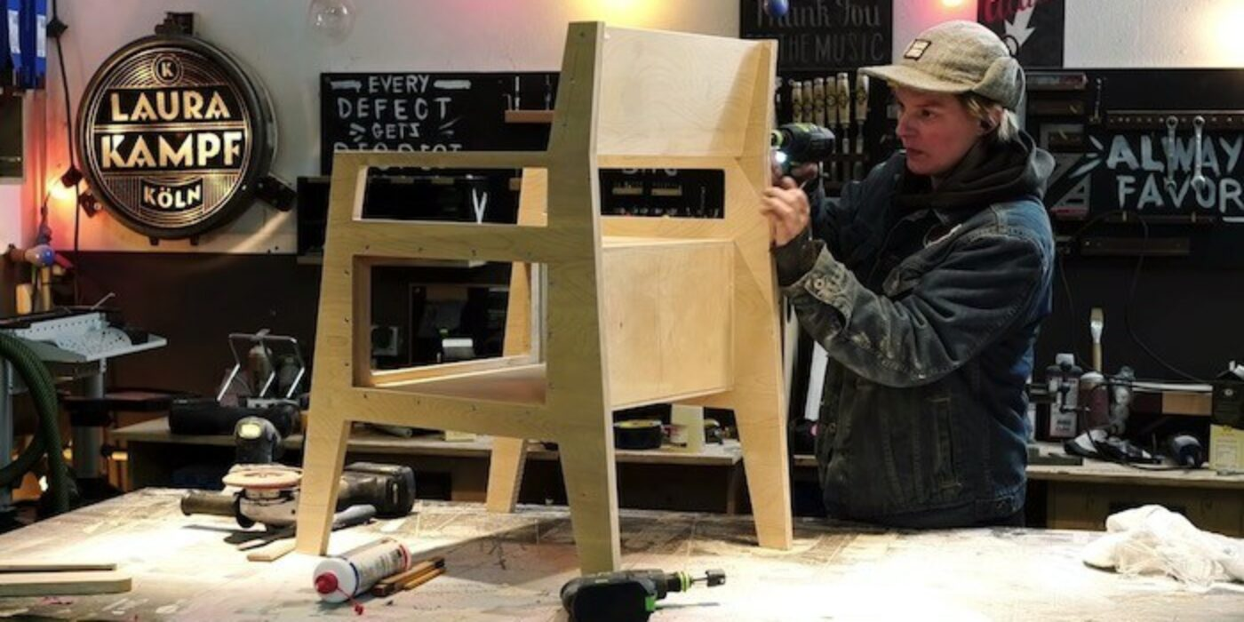 DIY plywood chair with book storage