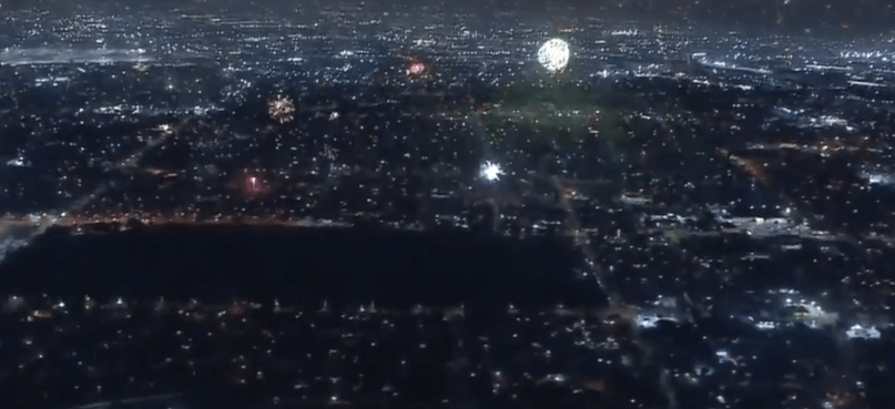 LA cityscape with fireworks goes full Blade Runner