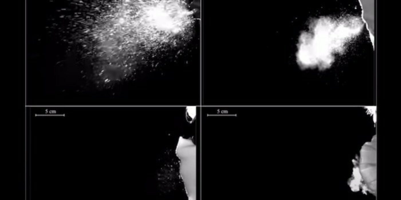Video compares bead sprays when using different masks –
